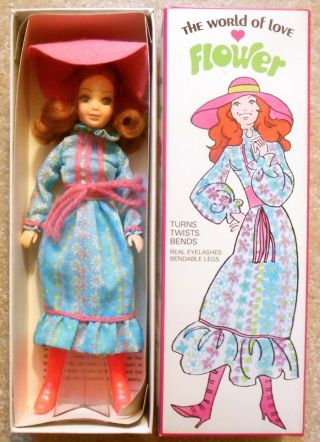 Vintage 1970s Hasbro World Of Love Mod Fashion Doll Flower /