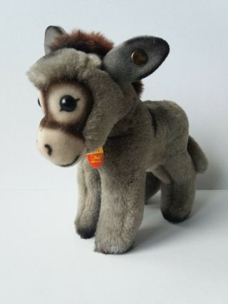 Vintage German Steiff Stupy Donkey Toy With Gold Ear Button & Name Tag 6in