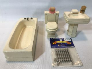 Vintage Dollhouse Miniature White Wood Bathroom Set - Sink,  Toilet,  Tub
