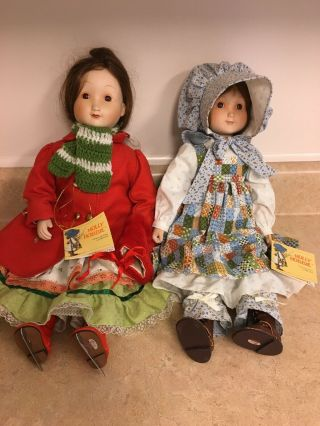Holly Hobbie Vintage Porcelain Dolls Set Of 2 Musical