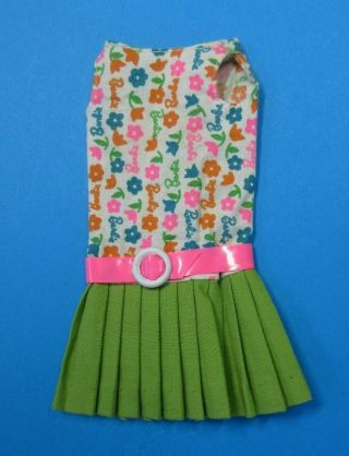 Vintage Barbie Francie - Slightly Summery Barbie Print Dress Pink Belt