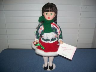 "Vintage Winter Brunette Doll W/ Green Eyes 14 "" W/ Tag By Madame Alexander"