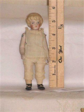 "Vintage 5 "" German All Bisque Parian Doll House Doll,  Jtd Body,  Painted Eyes"