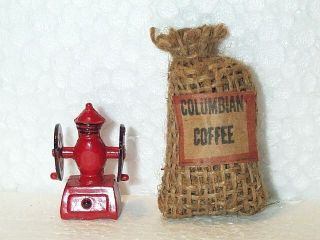 2 Fun Miniature Dollhouse Accessories Red Coffee Grinder Burlap Sack Coffee Bag
