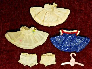 Madame Alexander Kins Doll (3) Dresses W Panties & Clothes Hanger