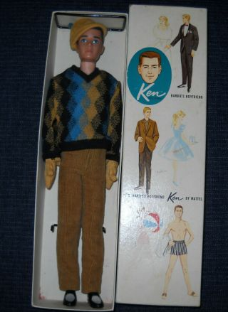 Vintage Brunette Ken Doll With Box And Vintage Clothing