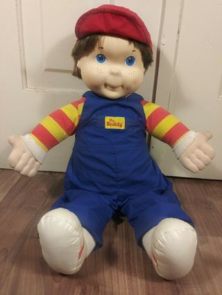 My Buddy Doll Vintage Playskool Brown Hair Blue Eyes Blue Overalls