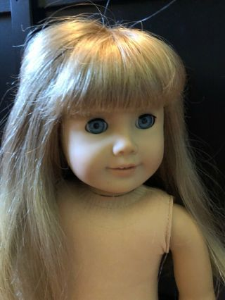 Vintage American Girl Doll Blonde Hair Bangs Blue Eyes Marked Pleasant Company