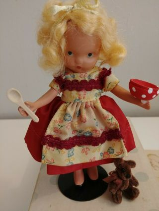 "Vintage 5 1/4 "" Nancy Ann Storybook Doll Bisque Slim Jt Goldylocks Tiny Bear Box"