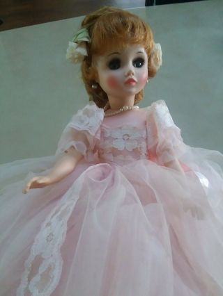"Vintage Elise Madame Alexander Doll 17 "" Pink Dress Auburn Red Hair Heels Hairnet"
