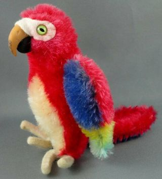 Steiff Lora Parrot Mohair Plush Macaw Bird Red Blue 12cm 5in 1960s No Id Vintage