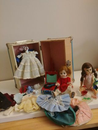 "2 Dolls Vintage 7 1/2 "" Ginger Doll & Friend Pam Trunk Clothes Accessories Look"