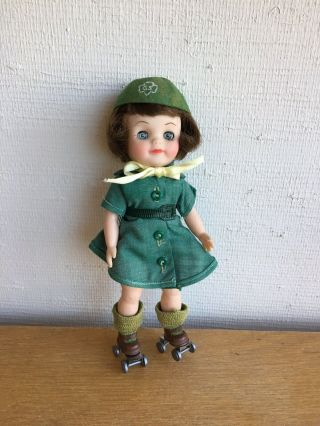 Effanbee 8.  5 Inch 1965 Girl Scout Doll With Roller Skates