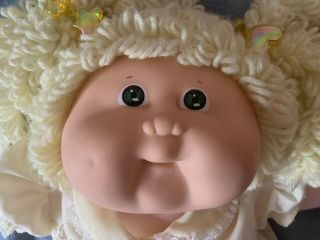 Vintage 1982 Cabbage Patch Kids Blonde Pig Tailed Doll By Coleco Signed Xavier