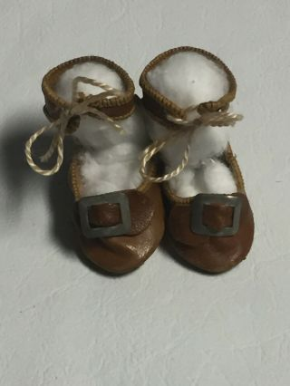 "Antique Brown Leather Doll Shoes With Metal Buckles 2.  25"" Long X 1"" Wide"