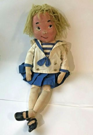 Vintage 1958 American Character Eloise Doll - Repainted Face - Very Loved & Worn