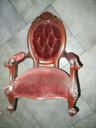 "Vintage Large Doll Chair Rosewood Red Velvet Upholstery 22 "" Tall X 13 1/2 "" Acros"