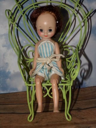 "Vintage 8 "" Tiny Betsy Mccall Doll Wearing Blue White Striped Romper Swimsuit"