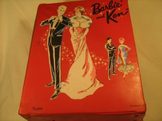 Vintage Barbie And Ken 1963 Red Clothes Trunk Carrying Case Wardrobe [u1^]