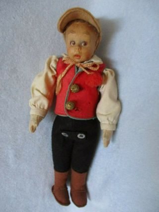 "Vintage Lenci Boy Felt Doll Painted Face 9"" Felt Clothes Italy"