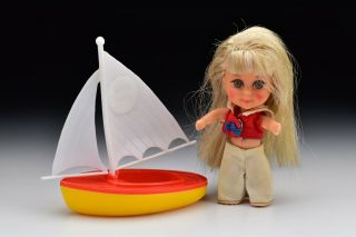 Vintage Liddle Kiddles Mattel Lola Doll Set With Sailboat 1965 / 1966