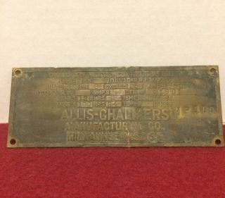 Antique Allis Chalmers Electric Motor Manufacturers Name Plate Tag Id