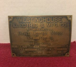 Antique Westinghouse Electric Motor Manufacturers Name Plate Tag Id