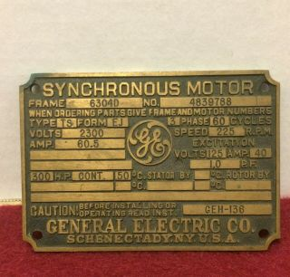 Antique General Electric Synchronous Motor Manufacturers Name Plate Tag Id