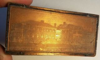 Antique Copper On Wood Printing Press Ink Stamp Block Municipal Colony