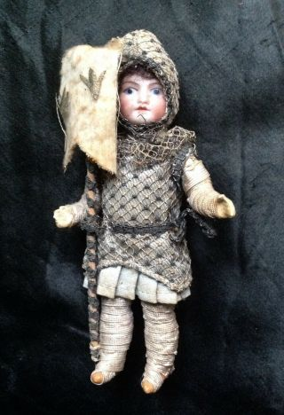 Rare Antique Miniature French Bisque Composition Doll Joan Of Arc Jeanne D