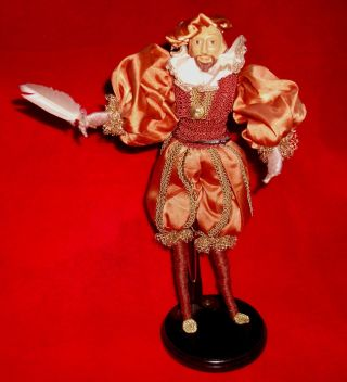 "Rare Unique Vintage Poseable Shakespeare Elizabethan Doll W/stand12 - 1/2 "" Bronze"