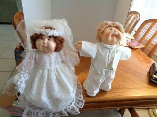 Rare Ooak Cabbage Patch Kids Bride & Groom Dolls Cpk Wedding Couple Set