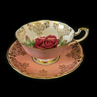 Paragon Rare Large Red Rose / Pink / Gold Gilt Tea Cup & Saucer A2377