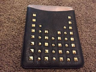 Rare Euc Steve Madden Studded Ipad Case Punk Rock Belt Black Gold