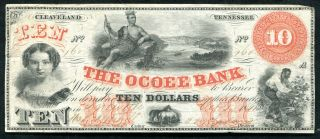 1861 $10 The Ocoee Bank Of Cleveland,  Tn Obsolete Banknote Rare