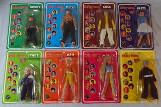 "2004 Classic Tv Brady Bunch 8 "" Action Figures Complete Set Of 8 Rare L@@k Mip"
