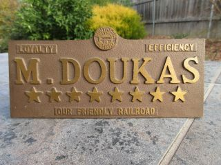 Southern Pacific Railroad Solid Bronze Brass Desk Plaque Train Name Sign,  Rare