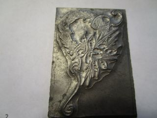 Antique Lead Letterpress Victorian Wedding / Funeral Wreath Printing Stamp