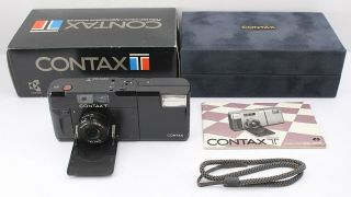 Rare Exc,  Contax T Black,  Sonnar 38mm F/2.  8 Flash Camera From Japan