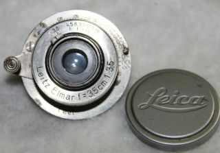 Very Rare Early No Serial Number Leica Elmar F=3.  5cm 1:3.  5 Nickel Lens Caps