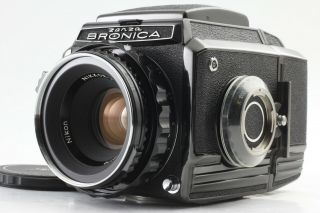 【rare Unused】 Zenza Bronica S2 Black Late Model W/ Nikkor P 75mm F2.  8 Japan 074