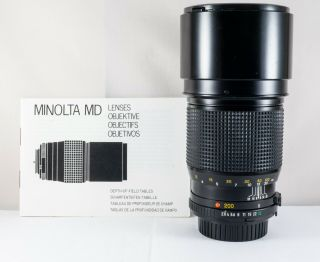 Exc,  Minolta Md 200mm F/2.  8 Rare Lens For Minolta Sr Mc Mount Also Sony E Fe