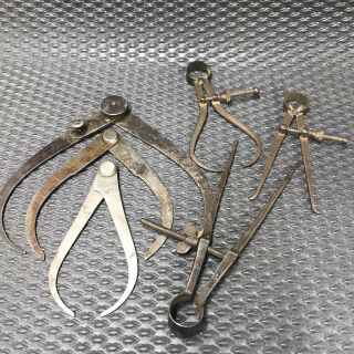 "Antique Calipers Dividers 6"" 4 - 1/2"" 4"" - Machinist Toolmaker Tools"