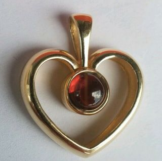 James Avery Retired 14k Yellow Gold Heart Pendant With Garnet Rare