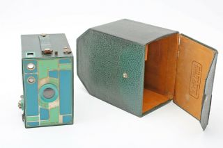 Kodak No 2a Beau Brownie,  Teal Blue/green Color 116 Box Deco Camera,  Case,  Rare