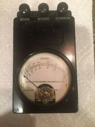 Antique Weston Ohm Meter Model 689 Old Radio Lab Test Leather Case & Leads