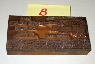 Antique Vintage Printing Plate Mail Order Merchandise Copper On Wood