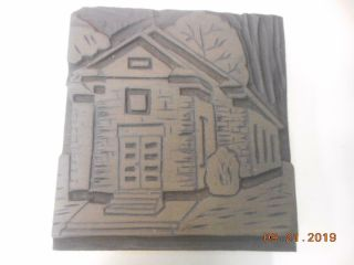 Printing Letterpress Printer Block Decorative Wood Carved House Antique