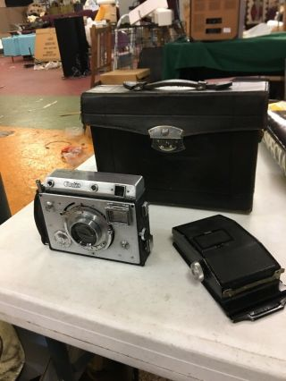 Rare Minolta Auto Press Camera With Case And Accessory