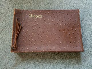 Vintage Early 1900s Leather Photo Album With Many Vintage Photos Inside Cool